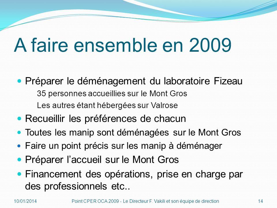 A faire ensemble en 2009 Préparer le déménagement du laboratoire Fizeau. 35 personnes accueillies sur le Mont Gros.