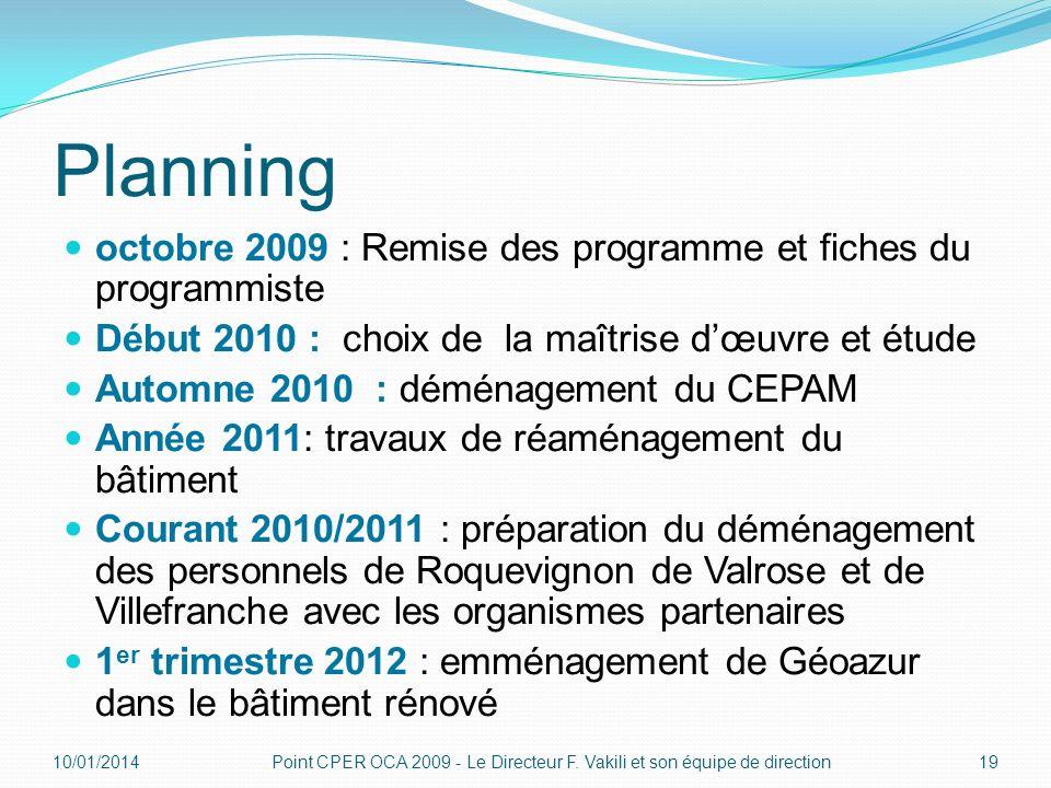 Planning octobre 2009 : Remise des programme et fiches du programmiste