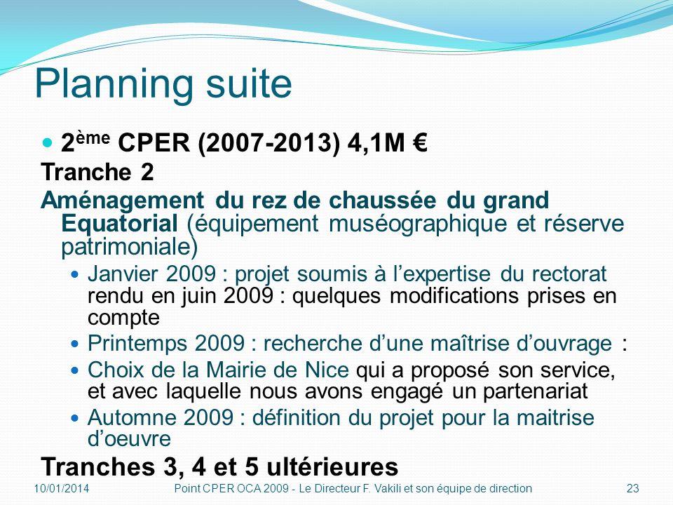 Planning suite 2ème CPER (2007-2013) 4,1M €