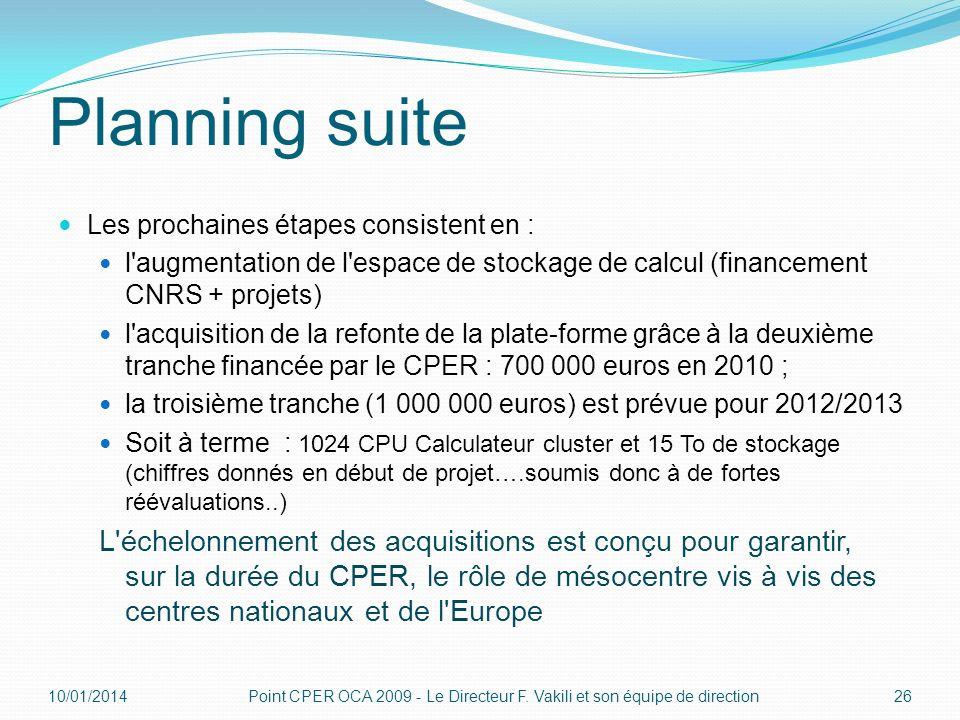 Planning suiteLes prochaines étapes consistent en : l augmentation de l espace de stockage de calcul (financement CNRS + projets)