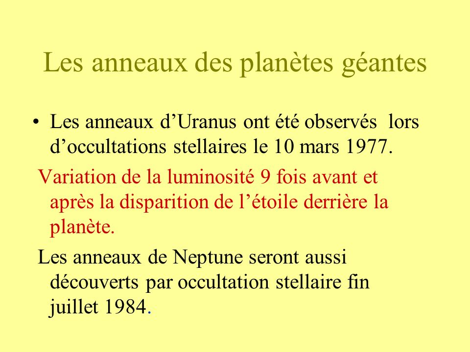 Les anneaux des planètes géantes