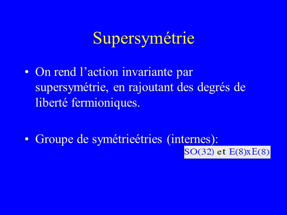 Supersymétrie On rend l'action invariante par supersymétrie, en rajoutant des degrés de liberté fermioniques.