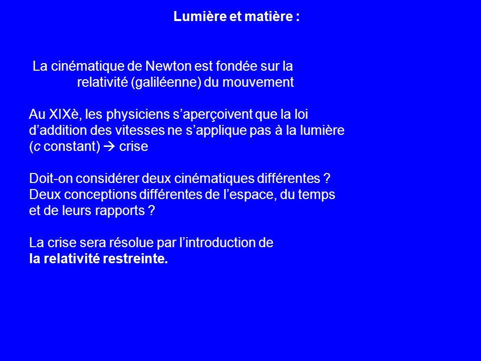 Lumière et matière : La cinématique de Newton est fondée sur la. relativité (galiléenne) du mouvement.