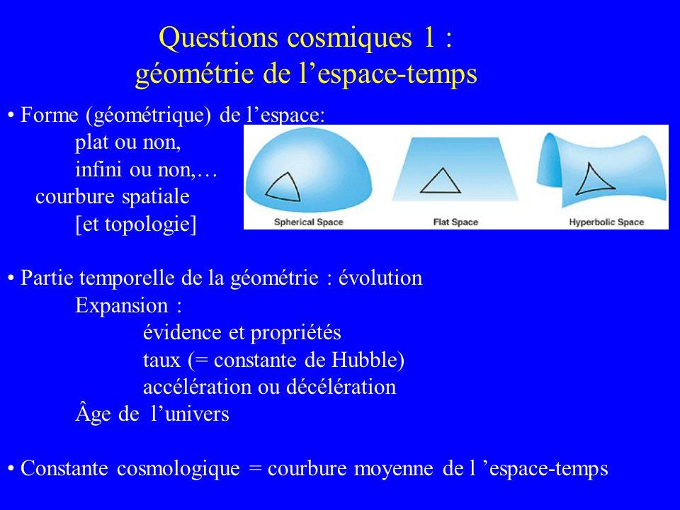 Questions cosmiques 1 : géométrie de l'espace-temps