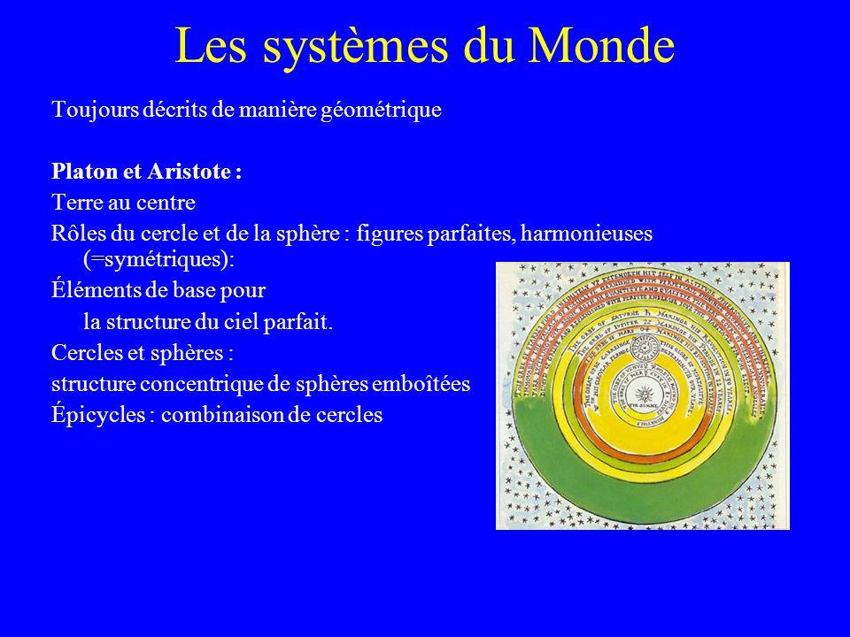 Les systèmes du Monde Toujours décrits de manière géométrique