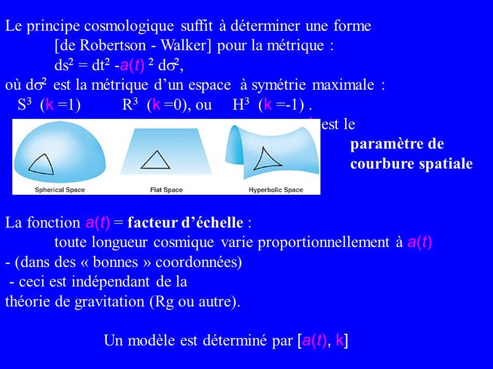 Le principe cosmologique suffit à déterminer une forme