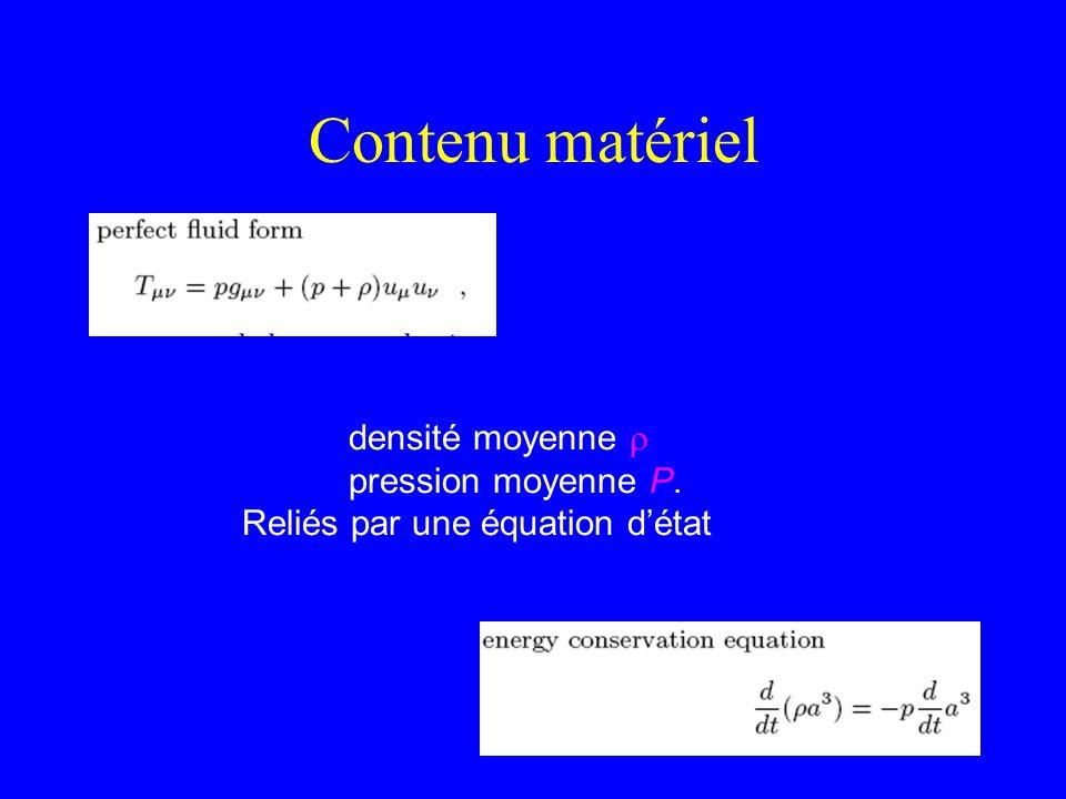 Contenu matériel densité moyenne r pression moyenne P.