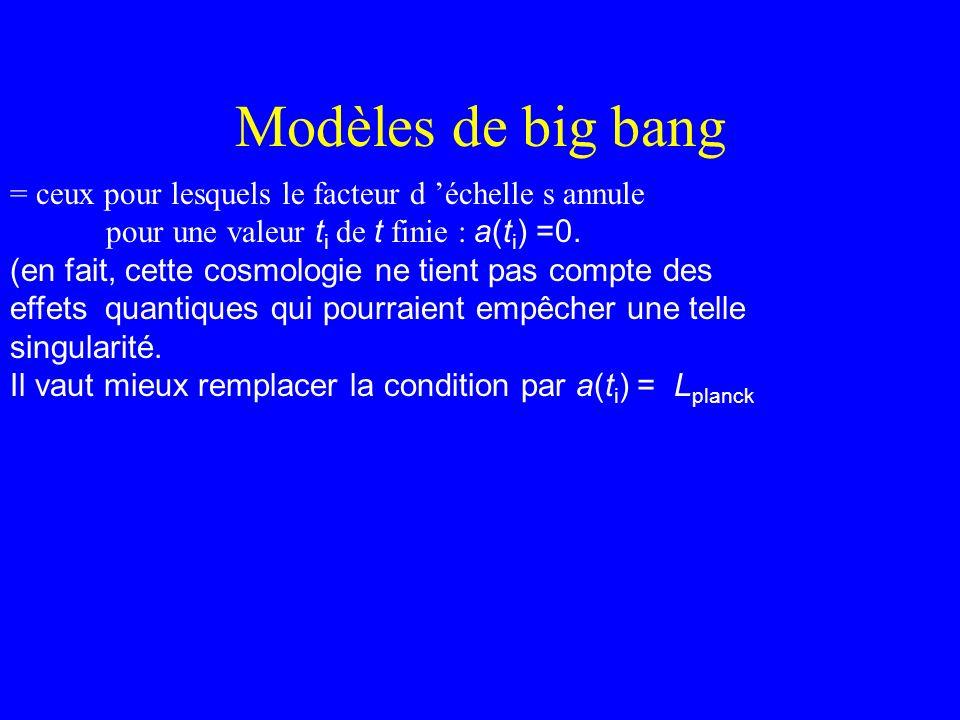 Modèles de big bang = ceux pour lesquels le facteur d 'échelle s annule. pour une valeur ti de t finie : a(ti) =0.