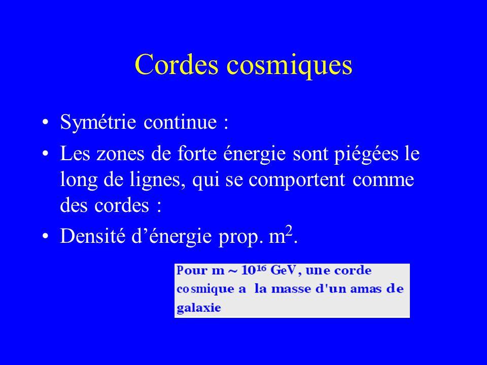 Cordes cosmiques Symétrie continue :