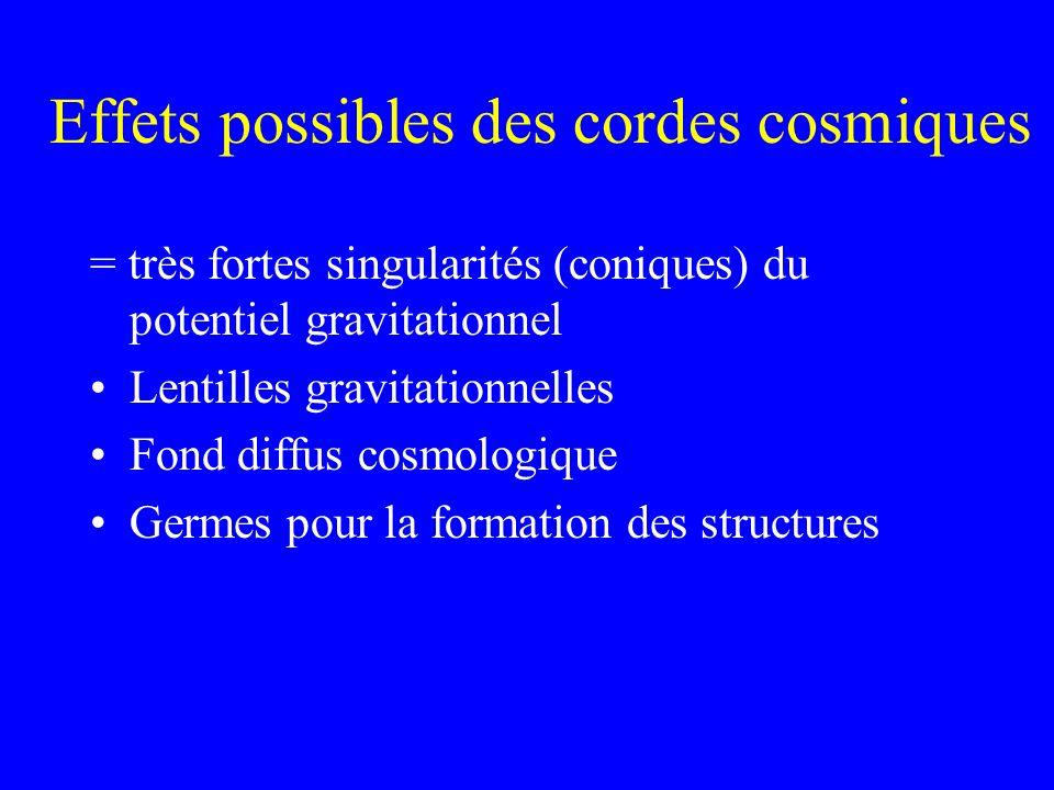 Effets possibles des cordes cosmiques