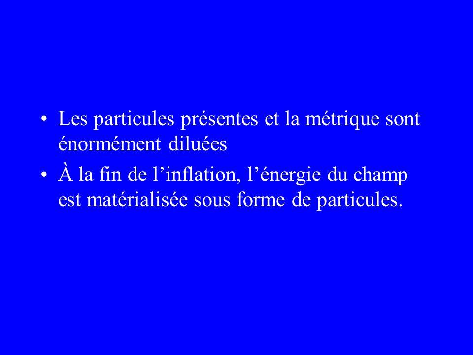 Les particules présentes et la métrique sont énormément diluées