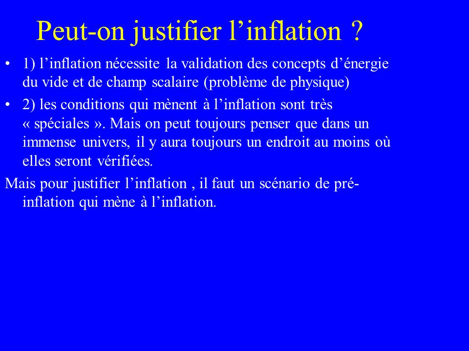 Peut-on justifier l'inflation