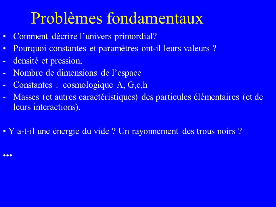 Problèmes fondamentaux