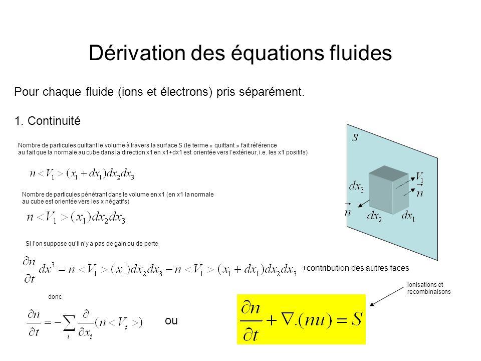 Dérivation des équations fluides