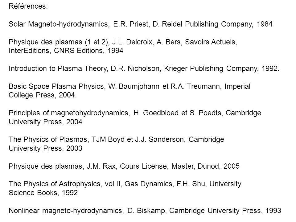 Références: Solar Magneto-hydrodynamics, E.R. Priest, D. Reidel Publishing Company, 1984.