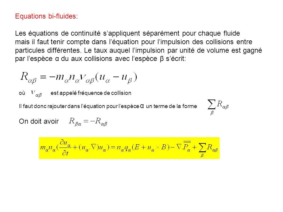 Equations bi-fluides: