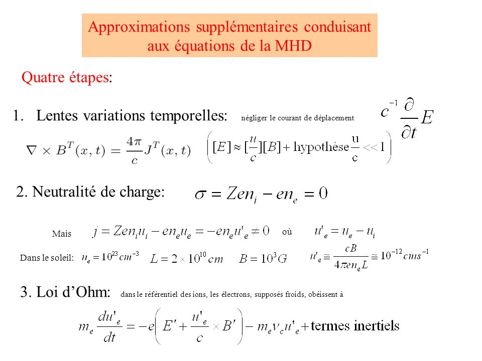 Approximations supplémentaires conduisant
