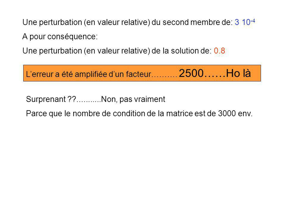 Une perturbation (en valeur relative) du second membre de: