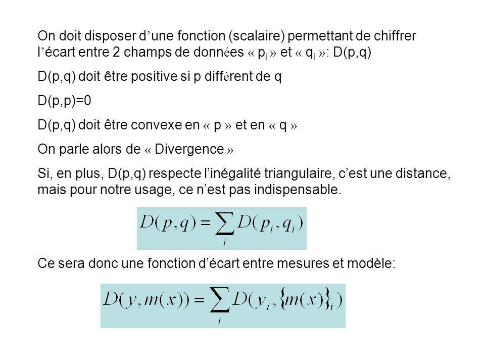 On doit disposer d'une fonction (scalaire) permettant de chiffrer l'écart entre 2 champs de données « pi » et « qi »: D(p,q)