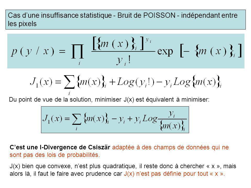 Cas d'une insuffisance statistique - Bruit de POISSON - indépendant entre les pixels