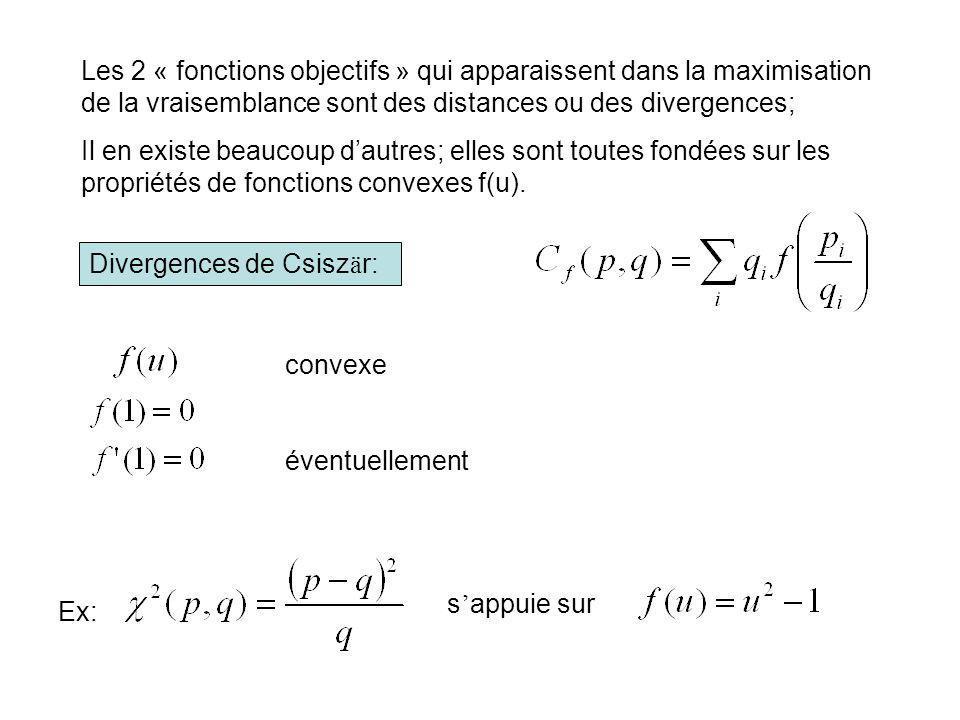 Les 2 « fonctions objectifs » qui apparaissent dans la maximisation de la vraisemblance sont des distances ou des divergences;