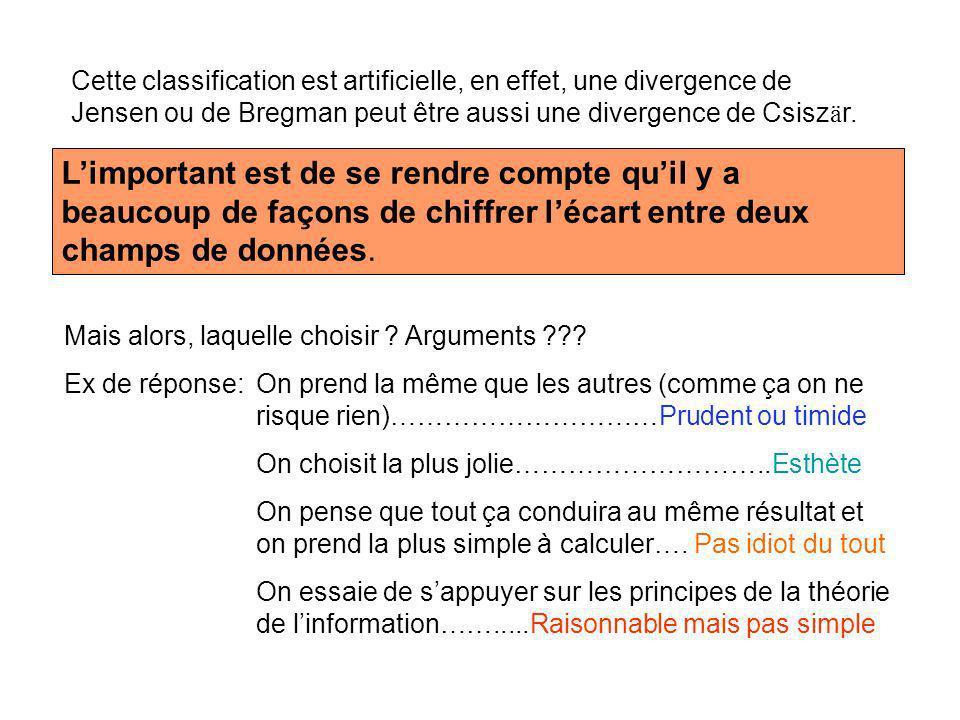 Cette classification est artificielle, en effet, une divergence de Jensen ou de Bregman peut être aussi une divergence de Csiszär.