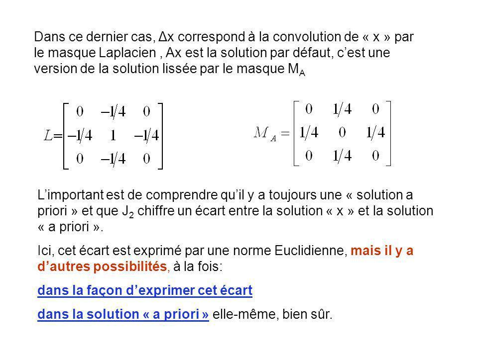 Dans ce dernier cas, Δx correspond à la convolution de « x » par le masque Laplacien , Ax est la solution par défaut, c'est une version de la solution lissée par le masque MA