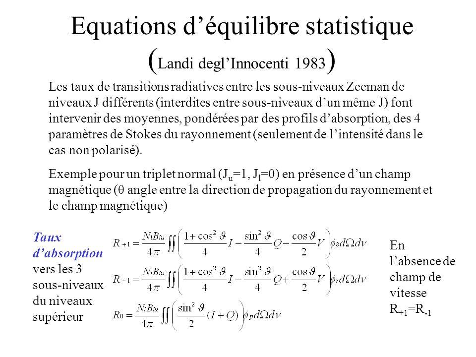 Equations d'équilibre statistique (Landi degl'Innocenti 1983)