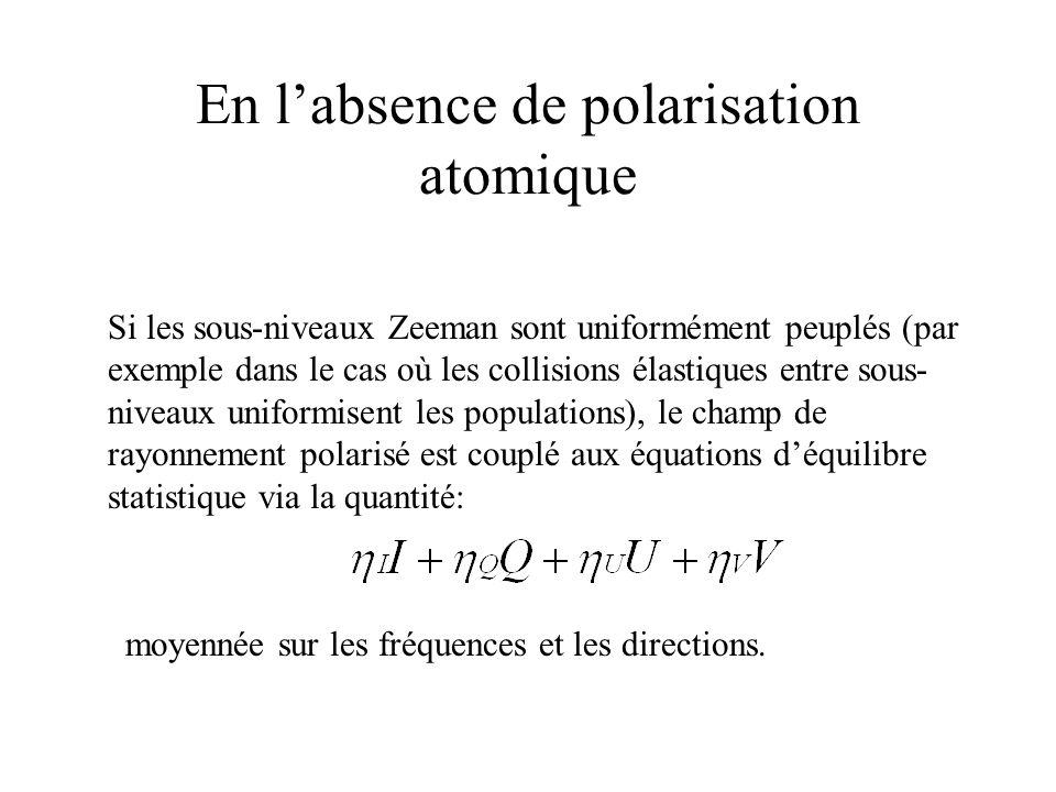 En l'absence de polarisation atomique
