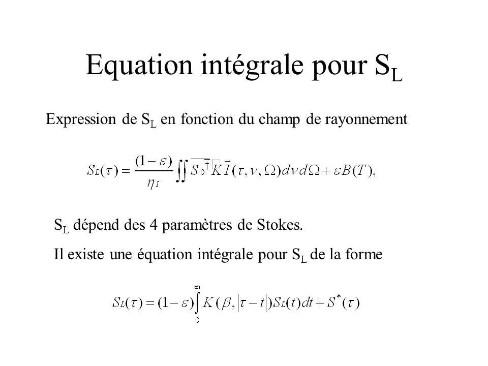 Equation intégrale pour SL