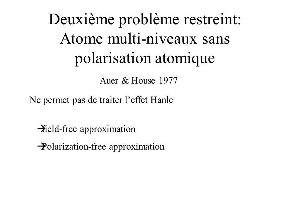 Deuxième problème restreint: Atome multi-niveaux sans polarisation atomique