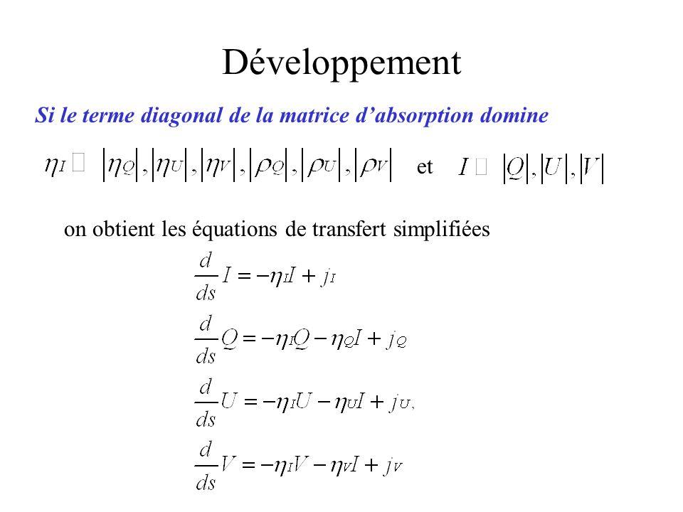 Développement Si le terme diagonal de la matrice d'absorption domine