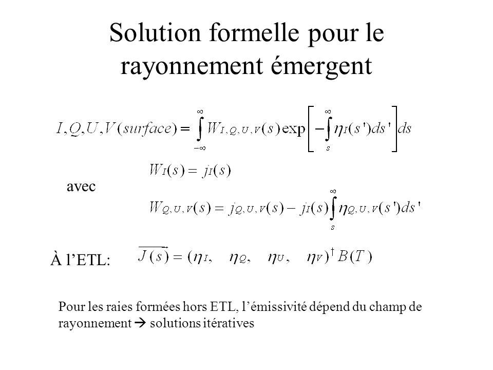 Solution formelle pour le rayonnement émergent
