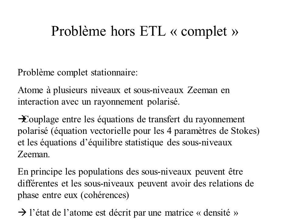 Problème hors ETL « complet »