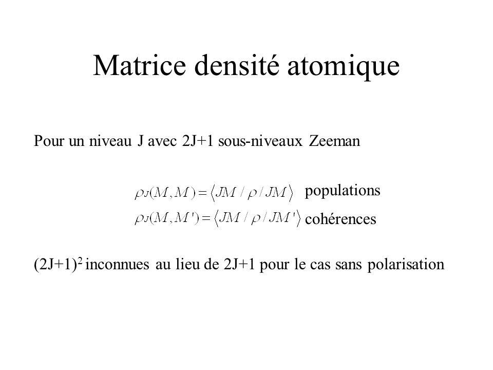Matrice densité atomique