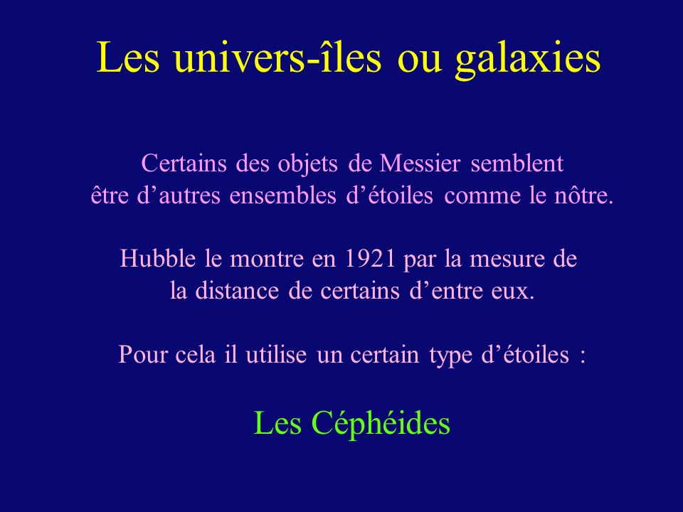 Les univers-îles ou galaxies
