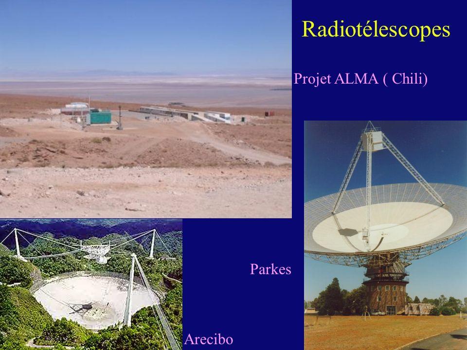 Radiotélescopes Projet ALMA ( Chili) Parkes Arecibo
