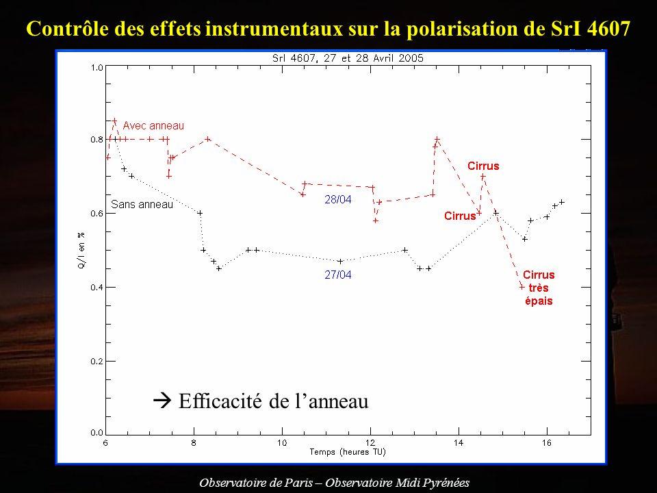 Contrôle des effets instrumentaux sur la polarisation de SrI 4607