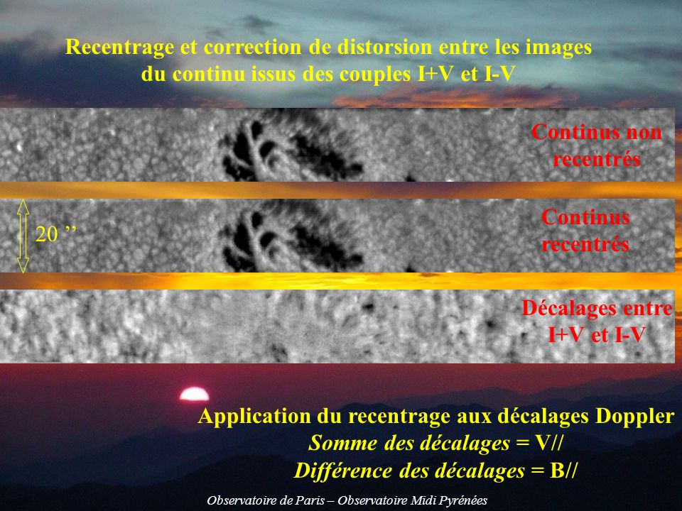 Recentrage et correction de distorsion entre les images