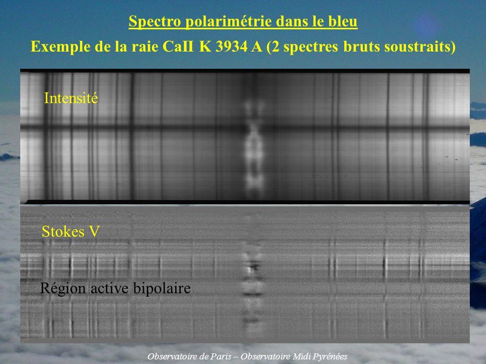 Spectro polarimétrie dans le bleu