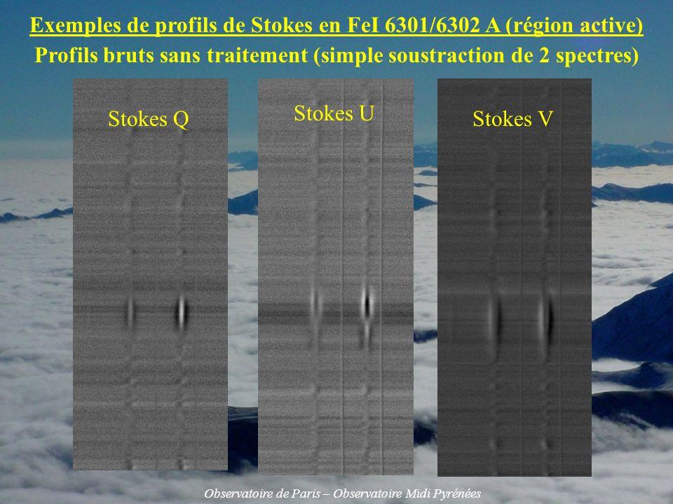 Exemples de profils de Stokes en FeI 6301/6302 A (région active)