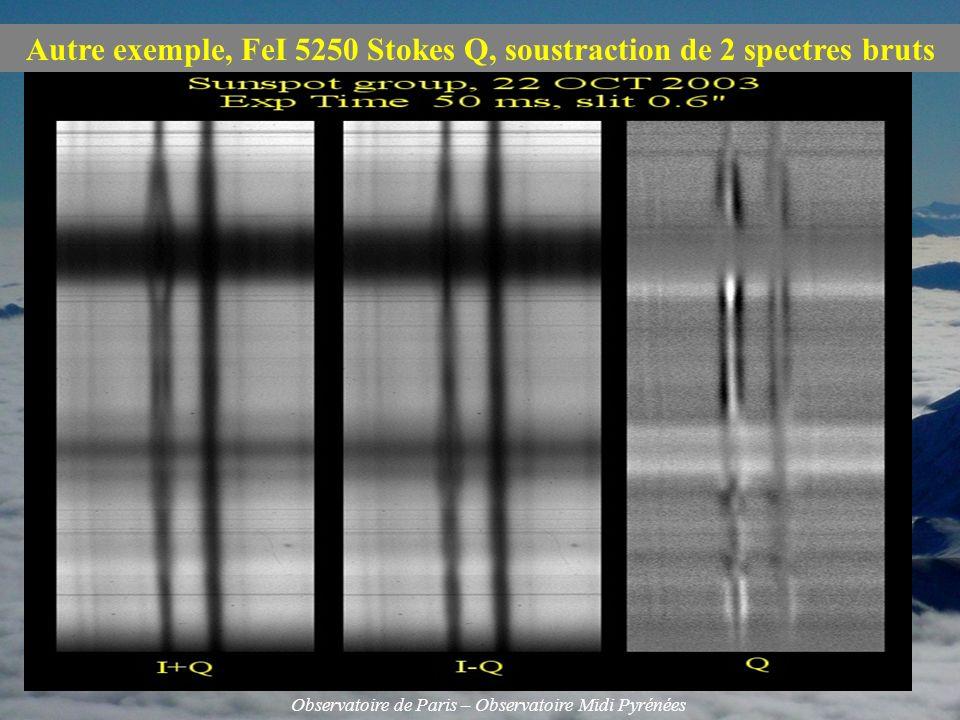 Autre exemple, FeI 5250 Stokes Q, soustraction de 2 spectres bruts