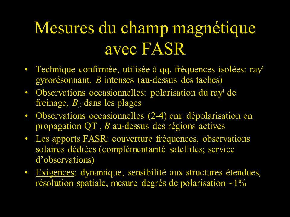 Mesures du champ magnétique avec FASR