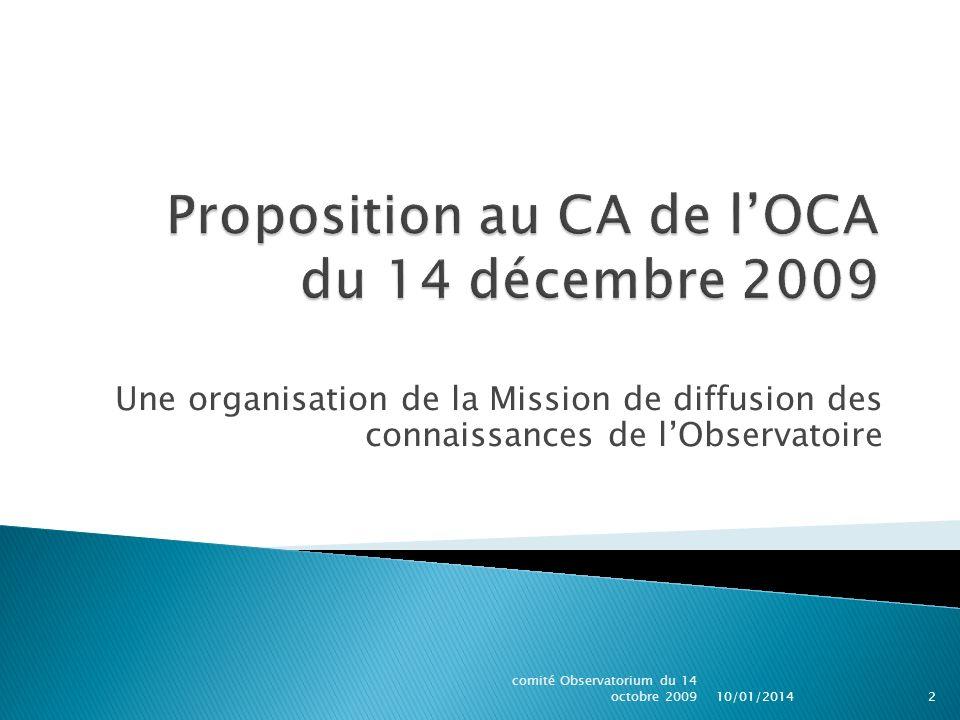Proposition au CA de l'OCA du 14 décembre 2009