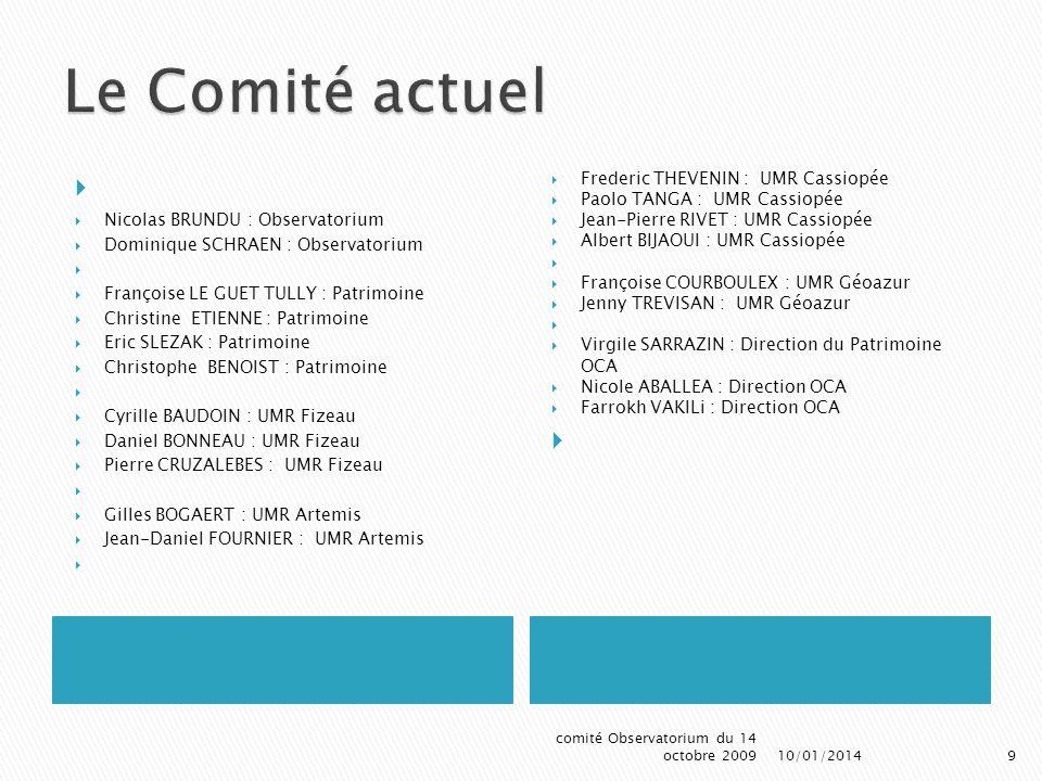 Le Comité actuel Frederic THEVENIN : UMR Cassiopée