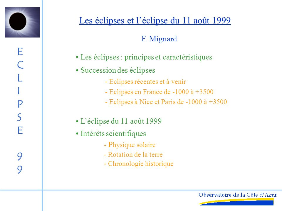 Les éclipses et l'éclipse du 11 août 1999