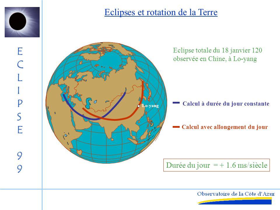 Eclipses et rotation de la Terre
