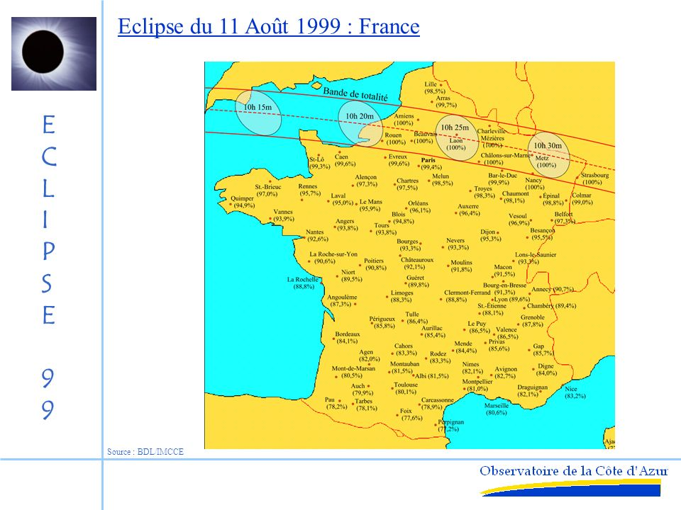 Eclipse du 11 Août 1999 : France