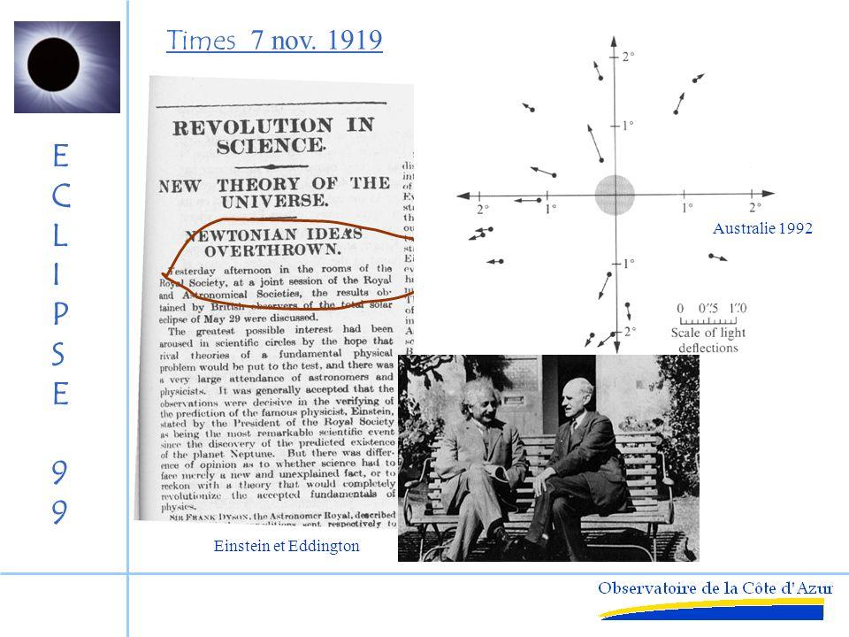 Times 7 nov. 1919 Australie 1992 Einstein et Eddington