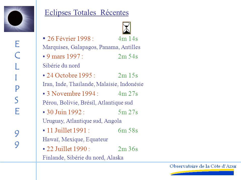 Eclipses Totales Récentes